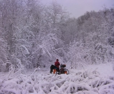 Biking in a  winter wonderland